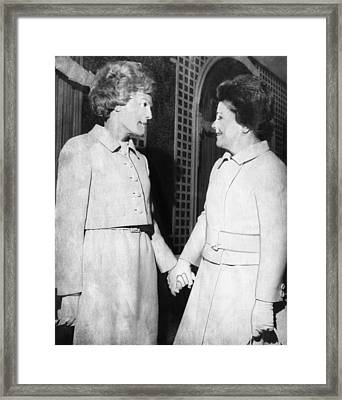 First Lady Patricia Nixon Hold Hands Framed Print by Everett