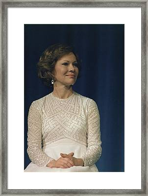 First Lady Roslyn Carter In A White Framed Print by Everett
