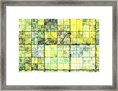 First Time Geometric Yellow Framed Print by Mayhem Mediums
