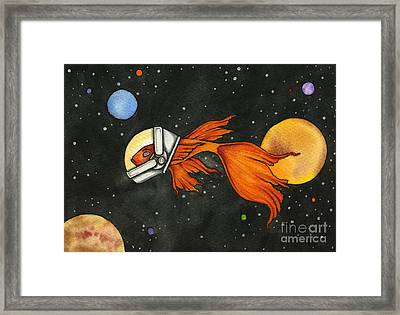 Fish In Space Framed Print by Nora Blansett