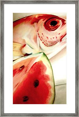 Fish Out Of Watermelon Framed Print by Joan Pollak