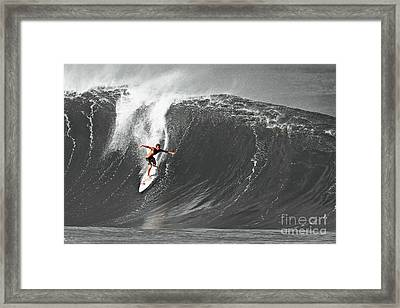 Fisher Heverly Surfing At The Banzai Pipeline Framed Print by Paul Topp