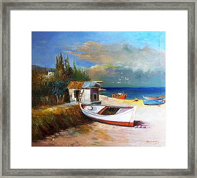 Fisherman's Cottage Framed Print by George Siaba