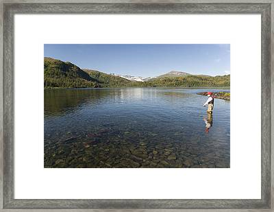 Fishing At Shrode Lake Framed Print by Gloria & Richard Maschmeyer