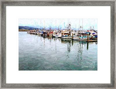Fishing Boats At The Dock . 7d8187 Framed Print by Wingsdomain Art and Photography
