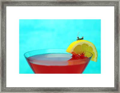 Fishing On A Piece Of Lemon Framed Print by Paul Ge