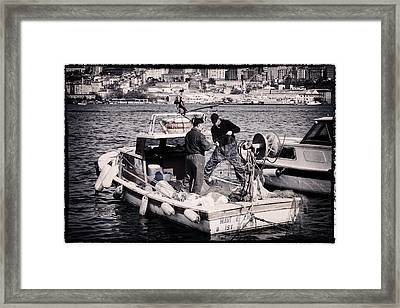 Fishing On The Golden Horn Framed Print by Joan Carroll