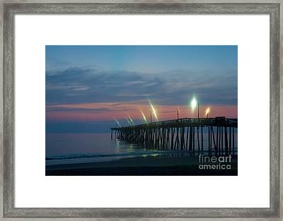 Fishing Pier Sunrise Framed Print by John Greim