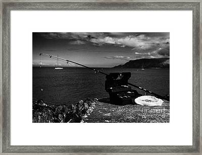 Fishing Tackle Box Filled With Sea Fishing Gear Rod And Bait On The County Antrim Coast Framed Print by Joe Fox