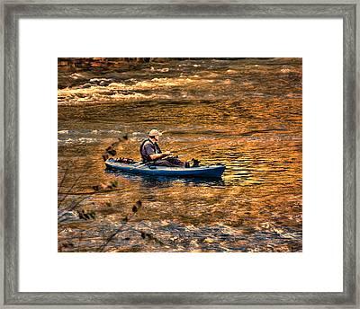 Fishing The Golden Hour Framed Print by Steven Richardson