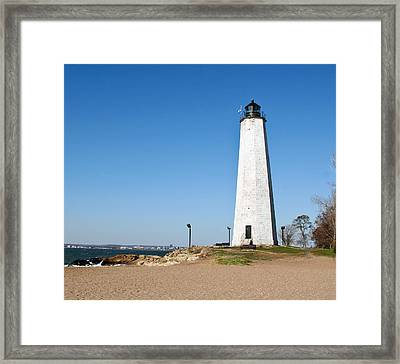 Five Mile Point Light Framed Print by Gerald Mitchell