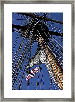 Flag In The Rigging Framed Print by Garry Gay