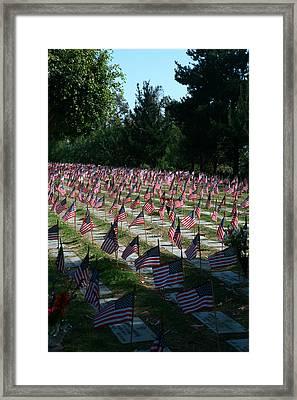 Flags Of The Fallen Framed Print by Lon Casler Bixby