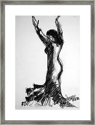 Flamenco Sketch 3 Framed Print by Mona Edulesco