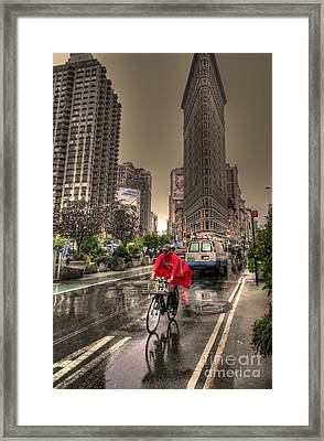 Flatiron In The Rain Framed Print by David Bearden