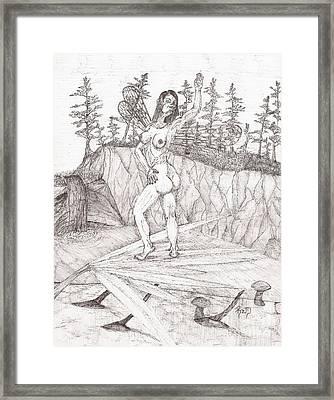 Flexible In The Morning... - Sketch Framed Print by Robert Meszaros