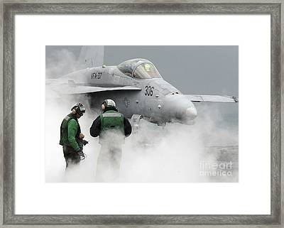 Flight Deck Personnel Are Surrounded Framed Print by Stocktrek Images