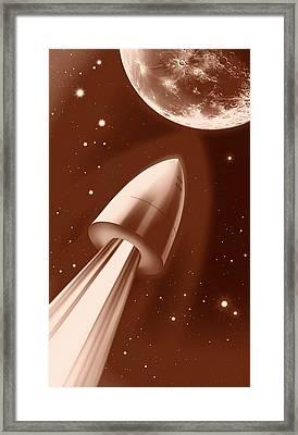 Flight To The Moon By Jules Verne Framed Print by Detlev Van Ravenswaay