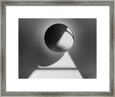 Floating Sphere On Light Triangle- Black And White Silver Gelati Framed Print by Adam Long