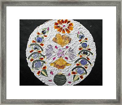 Floral Collage On Handmade Paper No. 2031 Framed Print by Mircea Veleanu