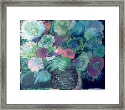 Floral With Blues Framed Print by Anne-Elizabeth Whiteway