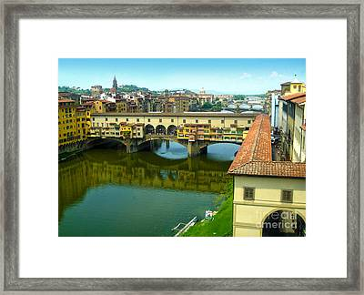 Florence Italy - Ponte Vecchio From The Uffizzi Framed Print by Gregory Dyer
