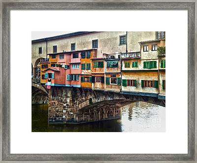 Florence Italy - Ponte Vecchio Framed Print by Gregory Dyer