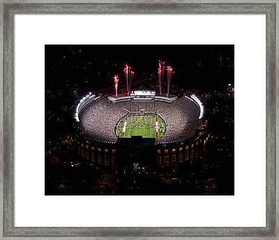 Florida State Fireworks Over Doak Campbell Stadium Aerial View Framed Print by Replay Photos