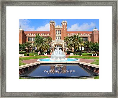 Florida State Fountain At The Westcott Building Framed Print by Larry Novey