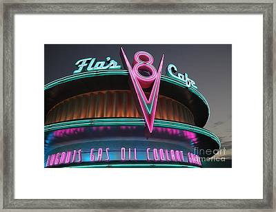Flos Cafe - Radiator Springs Cars Land - Disney California Adventure - 5d17749 Framed Print by Wingsdomain Art and Photography