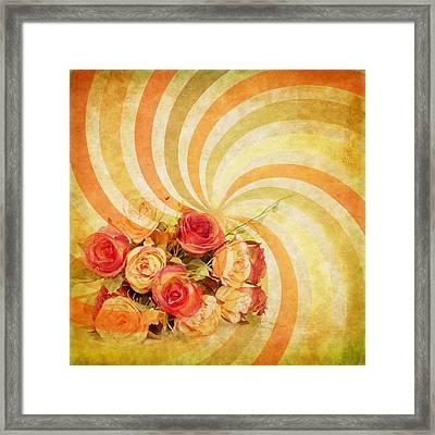 Flower Pattern Retro Style Framed Print by Setsiri Silapasuwanchai