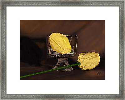 Flowers And Glass Framed Print by Tony Malone