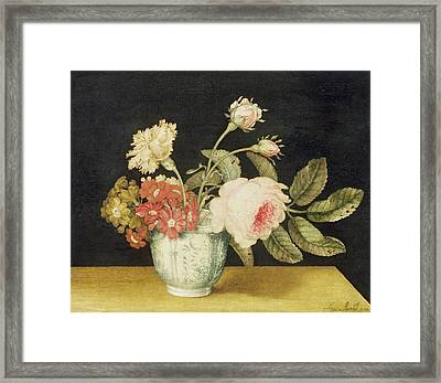 Flowers In A Delft Jar  Framed Print by Alexander Marshal