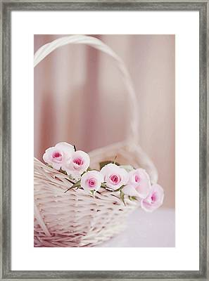 Flowers In Basket Framed Print by This Wonderful Life