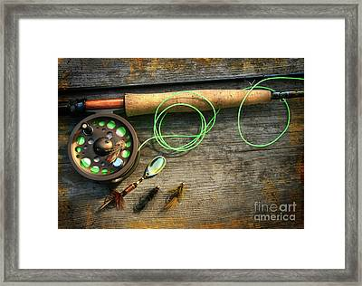 Fly Fishing Rod With Polaroids Pictures On Wood Framed Print by Sandra Cunningham