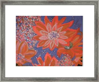Flying Orange Flowers On Blue Framed Print by Anne-Elizabeth Whiteway