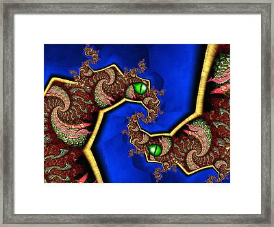 Foerever Twin Dragons Framed Print by Josette Dery