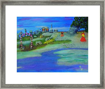 Fog Covered Cemetery Framed Print by Margaret Harmon