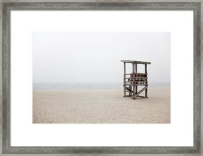 Foggy New England Beach Framed Print by Jenna Szerlag