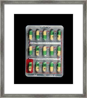 Foil Pack Of Prozac Pills Framed Print by Damien Lovegrove