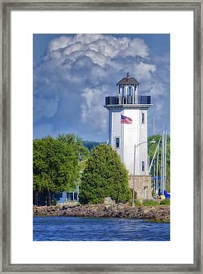 Fond Du Lac Lighthouse Framed Print by Joan Carroll