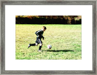 Footballer Framed Print by Bill Cannon