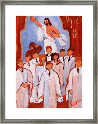 For The Love Of  God And Grandma Framed Print by Elzbieta Zemaitis