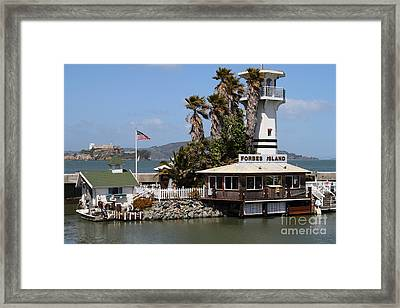 Forbes Island Restaurant With Alcatraz Island In The Background . San Francisco California . 7d14261 Framed Print by Wingsdomain Art and Photography
