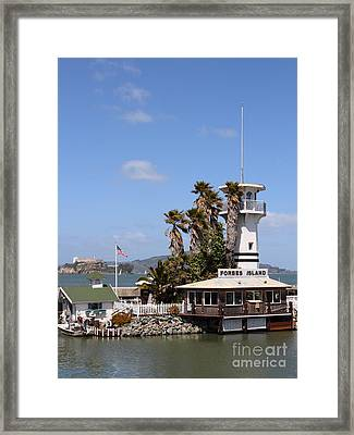 Forbes Island Restaurant With Alcatraz Island In The Background . San Francisco California . 7d14263 Framed Print by Wingsdomain Art and Photography