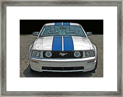 Ford Mustang Gt Front View Framed Print by Samuel Sheats