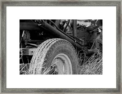 Ford Tractor Details In Black And White Framed Print by Jennifer Ancker