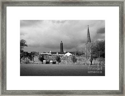 Former Castle And Bishops Palace And Workhouse Site With Cathedral And Round Tower Killala Framed Print by Joe Fox