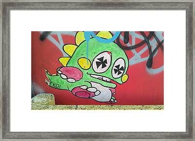Found Graffiti 27 Dino Framed Print by Jera Sky