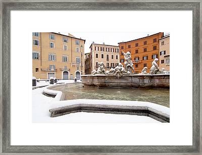 Fountain Of Neptune Framed Print by Fabrizio Troiani